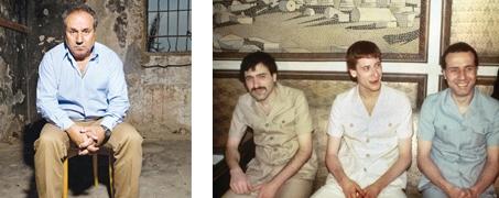 שלושת השבויים ביום השחרור. מימין: חזי שי, יוסף גרוף ונסים סאלם